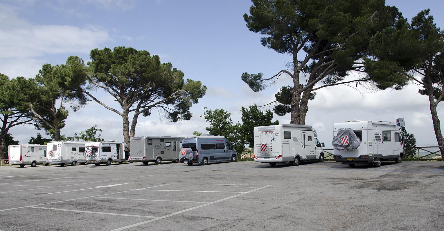 Camperplaats in Montepulciano, Toscane. Italië
