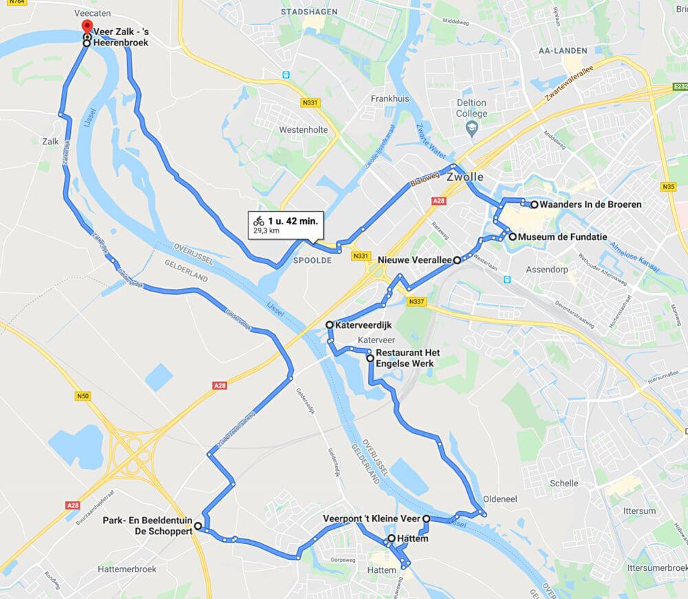 Fietsroute Hattem-Zwolle-Zalk, langs de IJssel